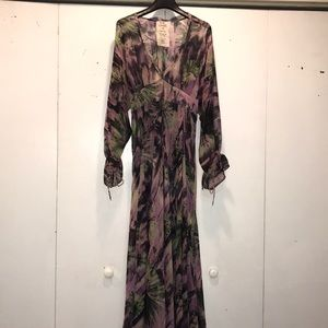 Free People Sheer Floral Printed Maxi Dress